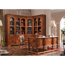 ^~紅蘋果傢俱^~ YHX301 美式 英式 仿古 美式書桌 辦公桌 寫字桌 書櫃 書椅