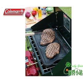大林小草~【CM-21879】美國Coleman 經典鑄鐵煎盤 (附收納袋)、鑄鐵烤盤鑄、雙面烤盤、牛排盤-【國旅卡】
