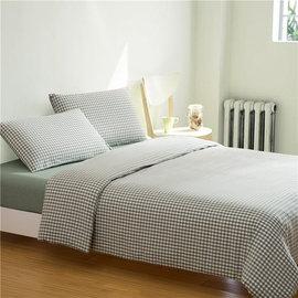 ~PAINT~日式風格,綠色小格,精梳棉,雙人加大床包,兩用薄被套四件組 A0103022