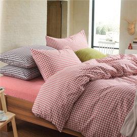 ~PAINT~日式風格,橘紅小格,精梳棉,雙人床包,兩用薄被套四件組 A010302190
