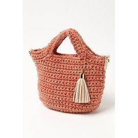 COOCO粉流蘇編織 兩用包 方包 手提包 後背包 肩背包 手拿包 手提袋