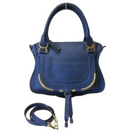 ~巴黎站  ~~CHLOE ~Marcie 土耳其藍色 牛皮 金釦 斜背包 手提包 兩用包
