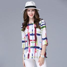 大  彩色不規則印花七分袖圓領上衣XL^~5XL~紐約七號~A2~544