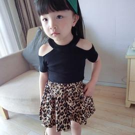 I BABY  女童 兒童 氣質 露肩上衣 豹紋短褲 兩件套 套裝~QA0679~