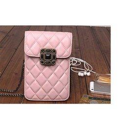 真皮包包女包菱格包鏈條包 羊皮迷你手機包斜跨包側背包^(粉紅^)