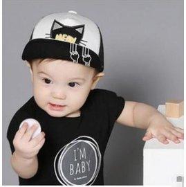 ~嬰兒童卡通貓咪網眼帽 夏天防曬遮陽帽寶寶旅遊嘻哈帽