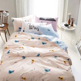 ~PAINT~北歐風格,快樂小雞,精梳棉,雙人床包,兩用薄被套四件組( + )A00103