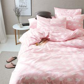 ~PAINT~北歐風格,粉嫩鯨魚,精梳棉,雙人床包,兩用薄被套四件組( + )A00103