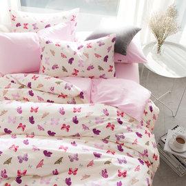 ~PAINT~北歐風格,飛舞蝴蝶,精梳棉,雙人床包,兩用薄被套四件組 A001030315
