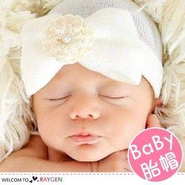 歐美嬰兒珍珠花朵針織套頭帽 胎帽【HH婦幼館】