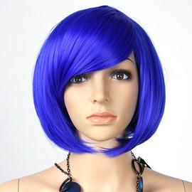藍色節日舞會用品 彩色假發 頭發套 學生發 BOBO頭假發斜劉海 多色