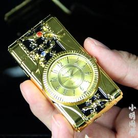 真手表七彩帶燈充氣電子打火機可走 超薄防風 夜光