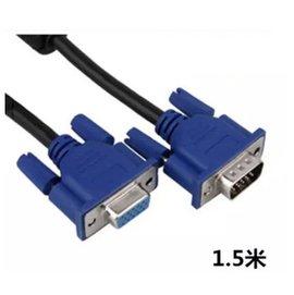 新竹市 (3+5芯) VGA線 公對母 雙磁環 電腦專用 延長線/傳輸線/訊號線 (1.5米/1.5公尺)