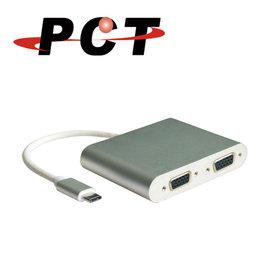 ~PCT~USB type~C轉2埠VGA轉接器 分配器^(UVS302^)