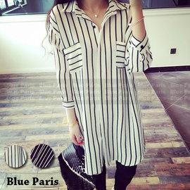 上衣 ~ 條紋下擺圓弧剪裁大口袋長版襯衫~29132~藍色巴黎~2色~