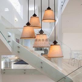 單頭簡約宜家北歐吊燈餐廳臥室過道燈樓梯吊燈個性創意吊燈亞麻復古燈