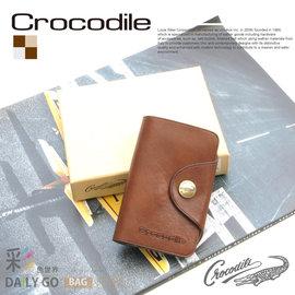 鑰匙包 Crocodile 鱷魚 真皮 NATURAL系列 原皮 三折鑰匙包~咖啡 010