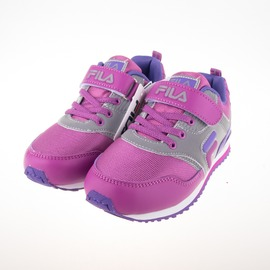FILA  復古休閒兒童反光慢跑鞋-紫 3-J810Q-999