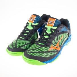 Mizuno  兒童 羽球 網球鞋-黑/綠/藍 61GA166054