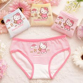 條紋hello kitty全棉兒童內褲 嬰幼兒三角褲 女童內衣內褲~(2件一組)^~K10