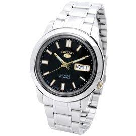 SEIKO WATCH 精工全 製典華紳士黑面金點綴5號盾牌系列自動機械腕錶 :SNKK1