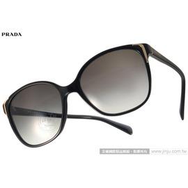 PRADA太陽眼鏡 PR01O 1AB3M1 (黑) 歐美時尚貓眼款 墨鏡 # 金橘眼鏡