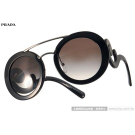 PRADA太陽眼鏡 PR13S 1AB0A7 (黑-銀) 華麗復古風造型圓框款 墨鏡 # 金橘眼鏡
