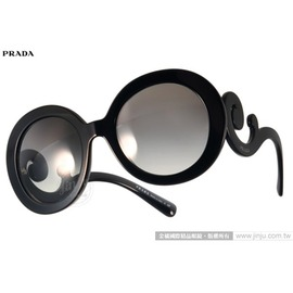 PRADA太陽眼鏡 PR27N 1AB3M1 (黑) 華麗復古風造型圓框款 墨鏡 # 金橘眼鏡