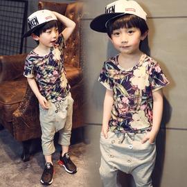 韓國 男童夏裝休閒短袖3~5周歲潮 純棉滿花兒童t恤男孩衣服