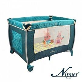 Nipper雙層遊戲床-點點綠,贈:黃色小鴨隨手包濕巾*1