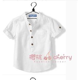 男童短袖立領襯衫 夏款裝 兒童寶寶 款 短袖襯衣