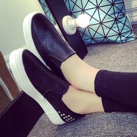 皮面帆布鞋女 厚底鬆糕休閒樂福鞋休閒鞋簡約鞋女單鞋