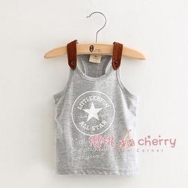 夏裝 字母男童 寶寶兒童背心無袖T恤潮tx~0318