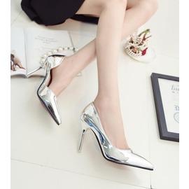 銀色高跟鞋女夏細跟尖頭性感夜店 鏤空單鞋單根顯瘦女鞋潮