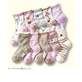 ~~阿布 ~~~AQ1400~甜美系網眼小花點點兒童襪全棉短襪 女中大童襪子 3枚組不挑款