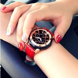 手錶休閒皮帶女性 潮流女士時裝錶 石英女錶大錶盤~型男原創館~