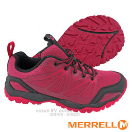 【美國 MERRELL】女新款 CAPRA RISE 專業輕量化避震透氣健行鞋(抗菌防臭鞋墊 耐磨)_GRIP鞋底.適登山 行走 _紅苺色 ML36866