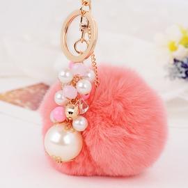 毛絨掛件 汽車鑰匙掛件圈鍊可愛兔毛絨水鑽珍珠鑰匙扣女包掛件飾品~型男原創館~