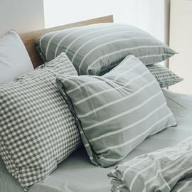 枕套~2入 ^~雙層紗~綠^~ 新疆棉寢織品;自然無印;簡約 ;翔仔居家