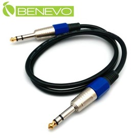 BENEVO 50cm TRS型式6.3mm公對公雙聲道 平衡聲音連接線 ^(BAU005