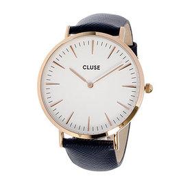 Cluse 波西米亞玫瑰金系列白錶盤 午夜藍十字紋皮革錶帶手錶38mm