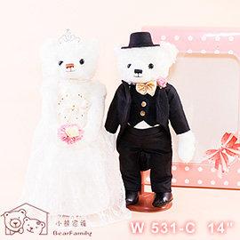 35cm~婚紗泰迪熊 C 組~黑西裝 蝴蝶結白紗 附小熊傳情手提袋  婚禮小熊 四肢可活動