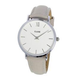 CLUSE荷蘭 手錶 MINUIT銀色系列 白錶盤 灰色皮革錶帶 33mm