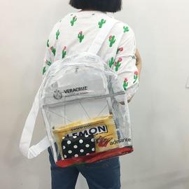 炒雞白菜 大容量雙肩包透明沙灘果凍背包原宿復古ulzzang書包~韓風館~