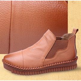單鞋真皮平底女鞋圓頭牛皮懶人鞋休閒厚底T16CDX07660兩色