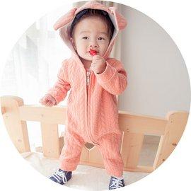 ^~^~阿布 ^~^~~AXF717~厚款橘紅立體葉片紋路純色小兔耳朵 戴帽長袖連身衣73