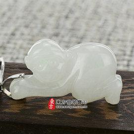 跪趴的猴子 ^(猴貴人^)A貨翡翠花件玉墜^(白翡細糯種^)HW006~產地 翡翠,可訂做