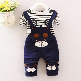 2016 春款 熊貓吊帶褲  熊熊 長袖 套裝 男童 女童 80~110CM 2~8歲 ^