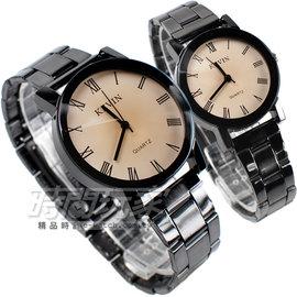 KEVIN 情人對錶 簡單羅馬時刻 腕錶 IP黑電鍍 對款 KEV2068羅馬大 KEV2