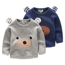 2016夏裝  男童 兒童 寶寶 純棉 卡通熊 立體耳朵 圓領上衣 長袖毛衣~QB1080